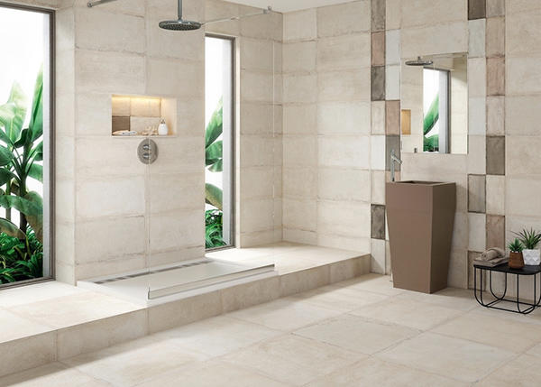 Overland shower floor cement tiles design available for hotel